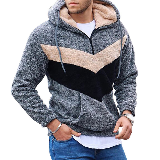 Color block fluffy men's hoodie