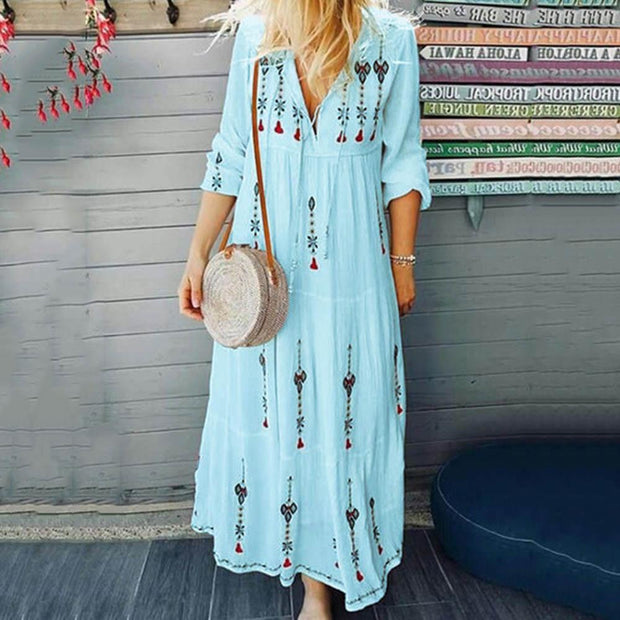 Bohemian floral Plaid long dress fashion drawstring lace up long sleeve dress