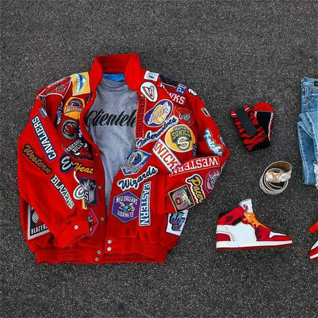 Red vintage old school print jacket