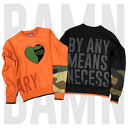 Heart print BY ANY MEANS NECESSARY sweatshirt