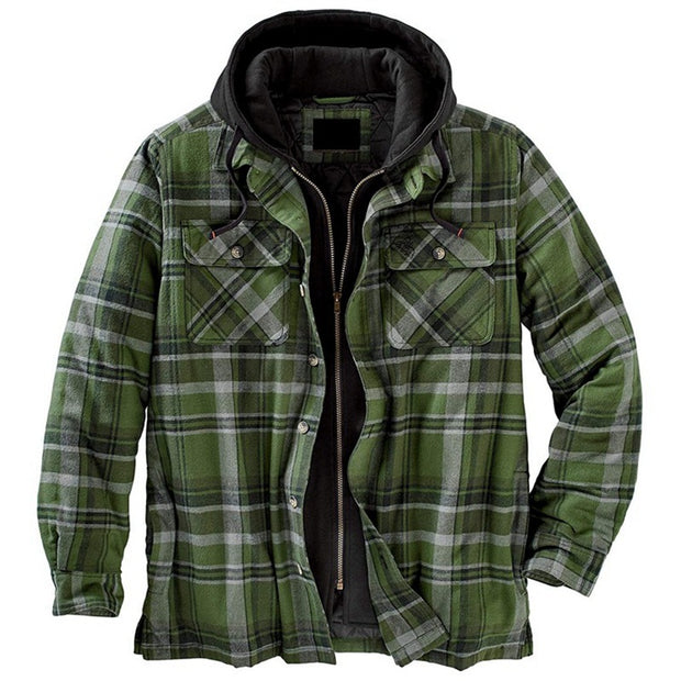Men's Jacket Color Block Zipper Hooded Fashion