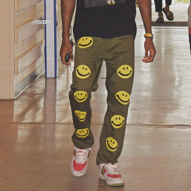 Smiley face print through fashion casual pants