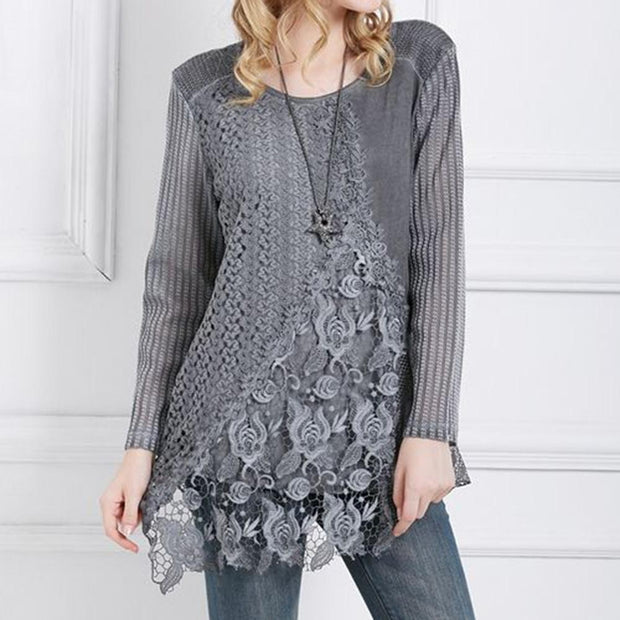Spring 2020 quick sale Amazon popular European and American lace round neck casual long sleeve shirt T-shirt