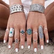 Bohemian index finger ring wide version retro carved geometric totem ring nine piece set
