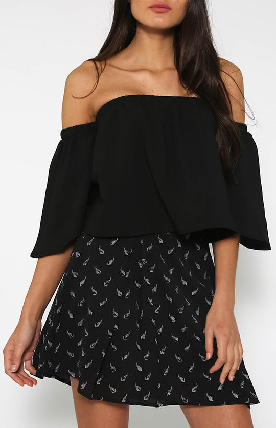 All-match sexy one-shoulder ruffle top