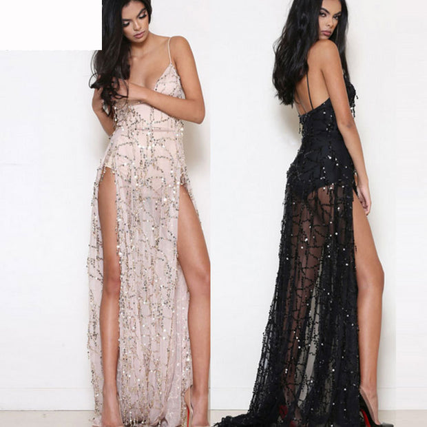 Strapless V-neck glitter maxi vent dress