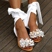 Candy color flat Heels Sandals European and American style Beaded flat HEELS SANDALS