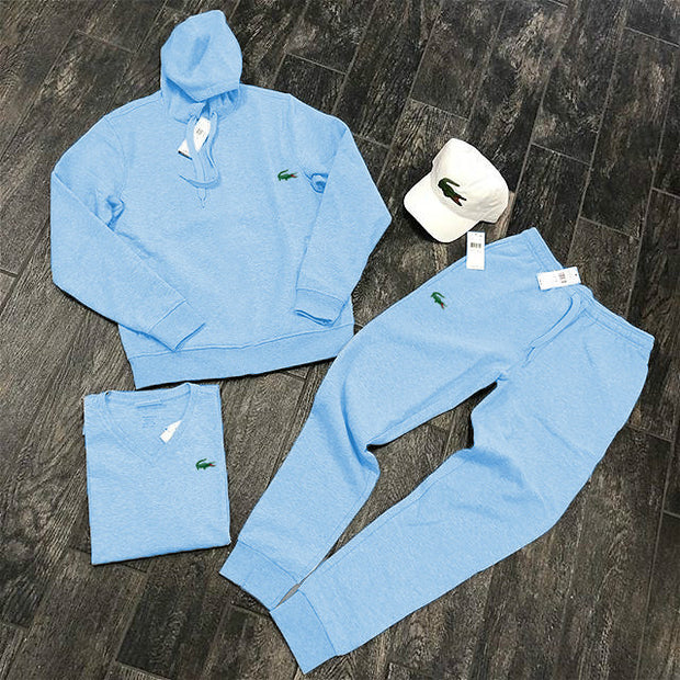 Mid blue crocodile print fashion streetwear hoodie set