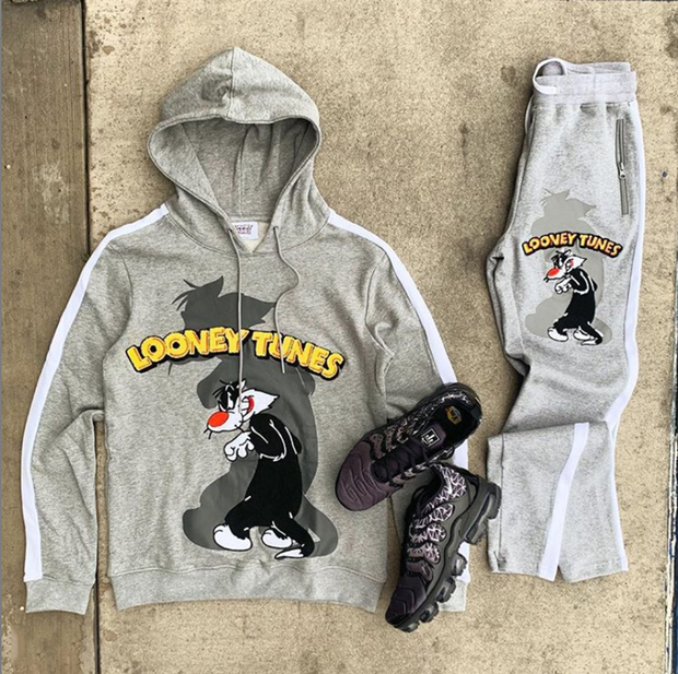 Cartoon print sports street style hoodie set