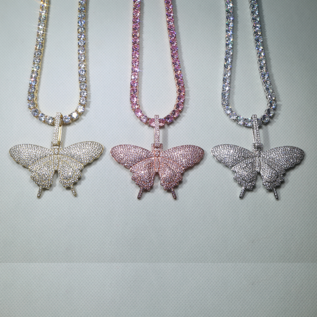 Hip hop cool iced out sparking bling pinkcharm Butterfly  necklaces
