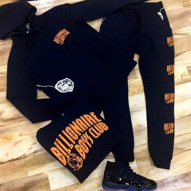 Fashionable black orange Billionaire Boys Club printed Hoodie set