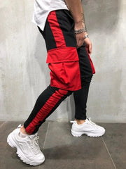 Color block pocket design cargo sweatpant