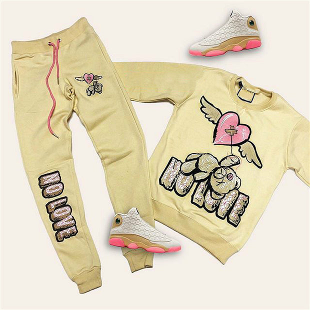 Khaki NO LOVE BEAR hoodie set