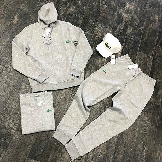 Grey crocodile print fashion streetwear hoodie set
