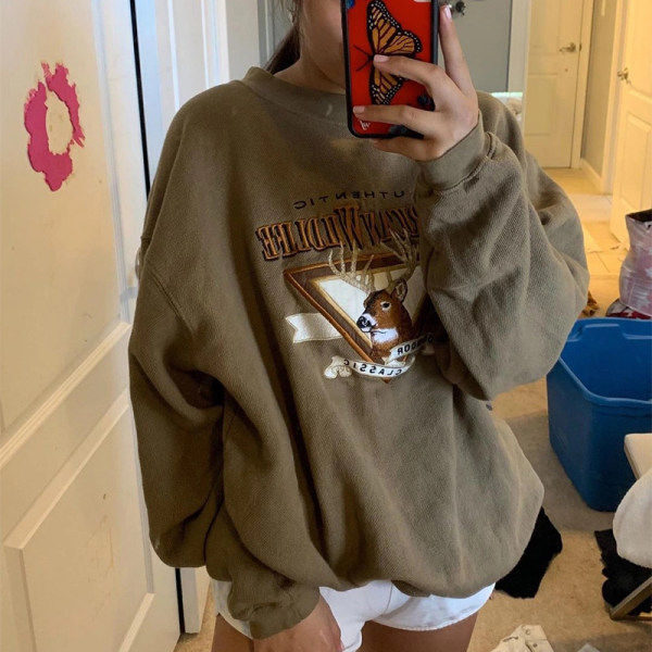 Casual round neck tan printed long sleeves Sweatshirt