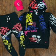 Graffiti Fashion Hooded Set-Black