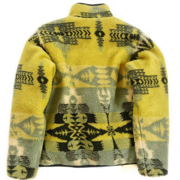Fleece print pattern vintage coat