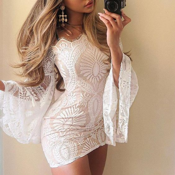 Off-the-shoulder flared sleeve crochet lace tight dress