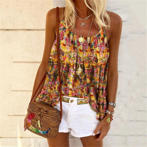 2020 holiday style Halter printed top and vest