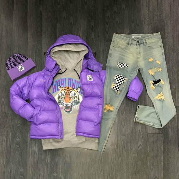 Personalized Sports Hooded Jacket-Purple