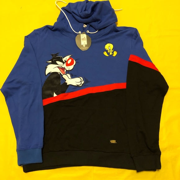 Blue black fashion cat duck print Hooded Sweater Set