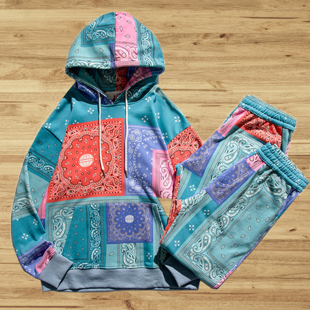 Vintage Bandanna print Hooded Sweater Set