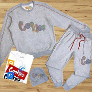 Fashion grey cookies sports suit