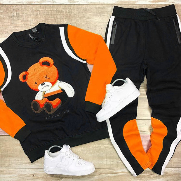 Fashionable black orange cute bear printed sweater set