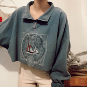 Women's Fashion Lapel Zip Print Sweatshirt