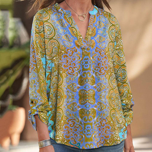 Column sale Bohemian print V-Neck long sleeve shirt