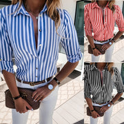 Blue stripe pocket women's blouse