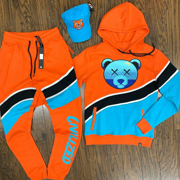 Bear color block hooded suit