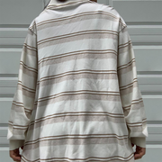 Casual Fold Collar Colorblock Striped Long Sleeves Sweatshirt