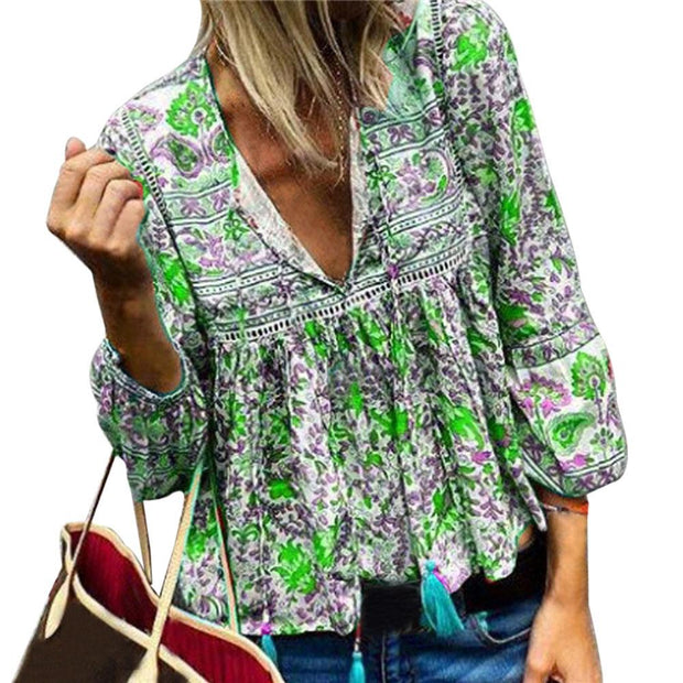 Retro Bohemian printed V-neck Lantern Sleeve Shirt