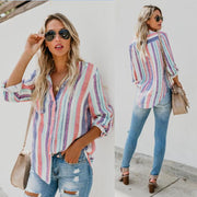 Fashion color stripe large shirt