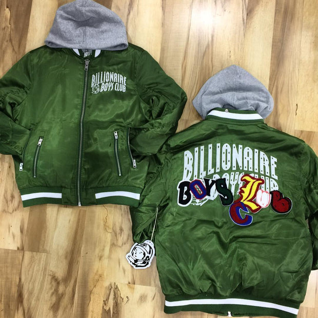 Fashionable olive green Billionaire Boys Club print thermal jacket