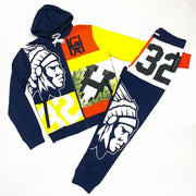 Fashionable colorful hustle gang print Hooded Sweater Set