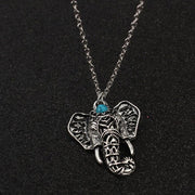 Retro ethnic disturbance Simia Gypsy silver mascot elephant women's Necklace
