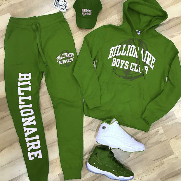 Fashionable green Billionaire Boys Club print casual Hooded Sweater Set