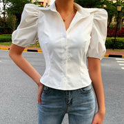 Square collar casual retro style short sleeve shirt