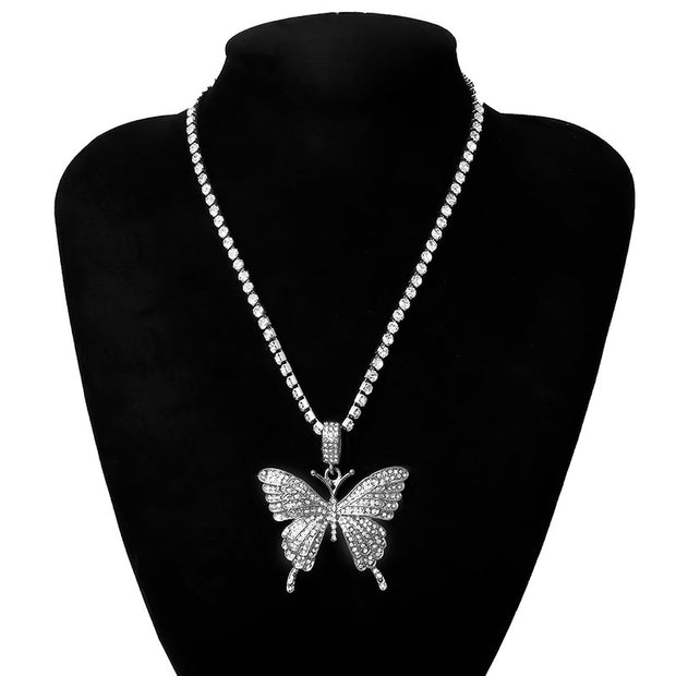 Large butterfly necklace with diamonds