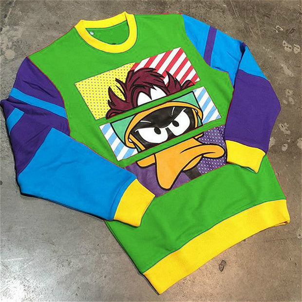 Color block cartoon duck print street style sweatshirt