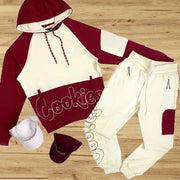Red and white cookies fashion sports Hoodie suit