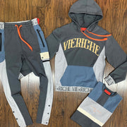 Colorblock letters casual hooded suit-gray
