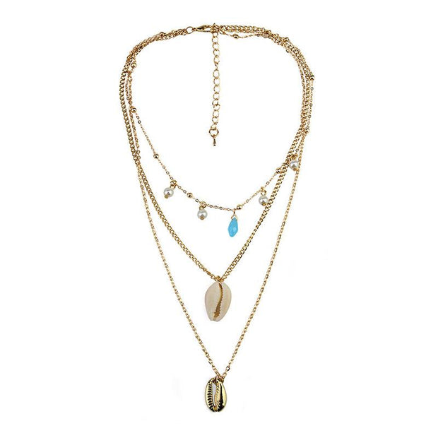 Jewelry Bohemia multi-layer necklace natural shell pearl national style personalized alloy Pendant Necklace female