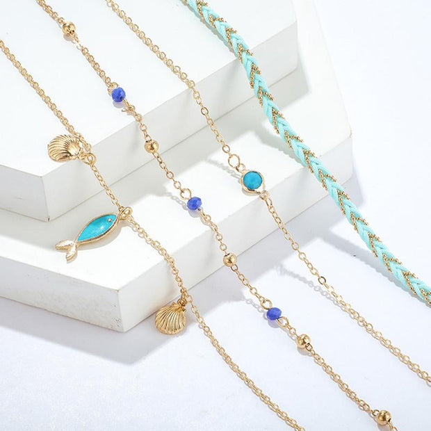 Hand made DIY Bohemian shell cute blue fish foot chain 4-piece set foot chain ornament female