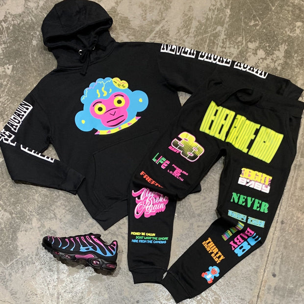 Colorful fashion monkey graffiti print Hooded Sweater Set