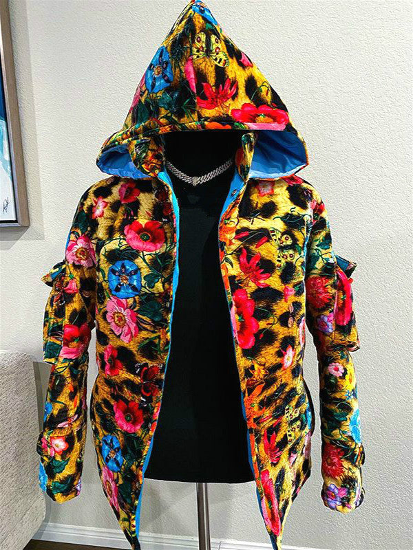 Floral print hoodie jacket with pocket
