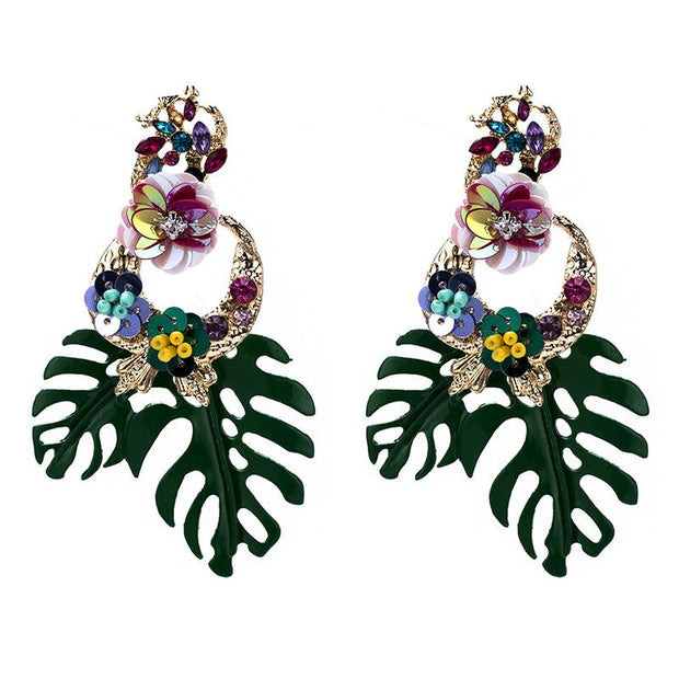Exaggerated big brand leaves, rice beads, sequins, earrings, diamond flowers, spring earrings, bohemian style