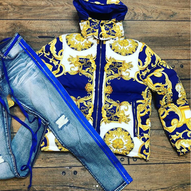 Floral-print down and cotton hooded jacket